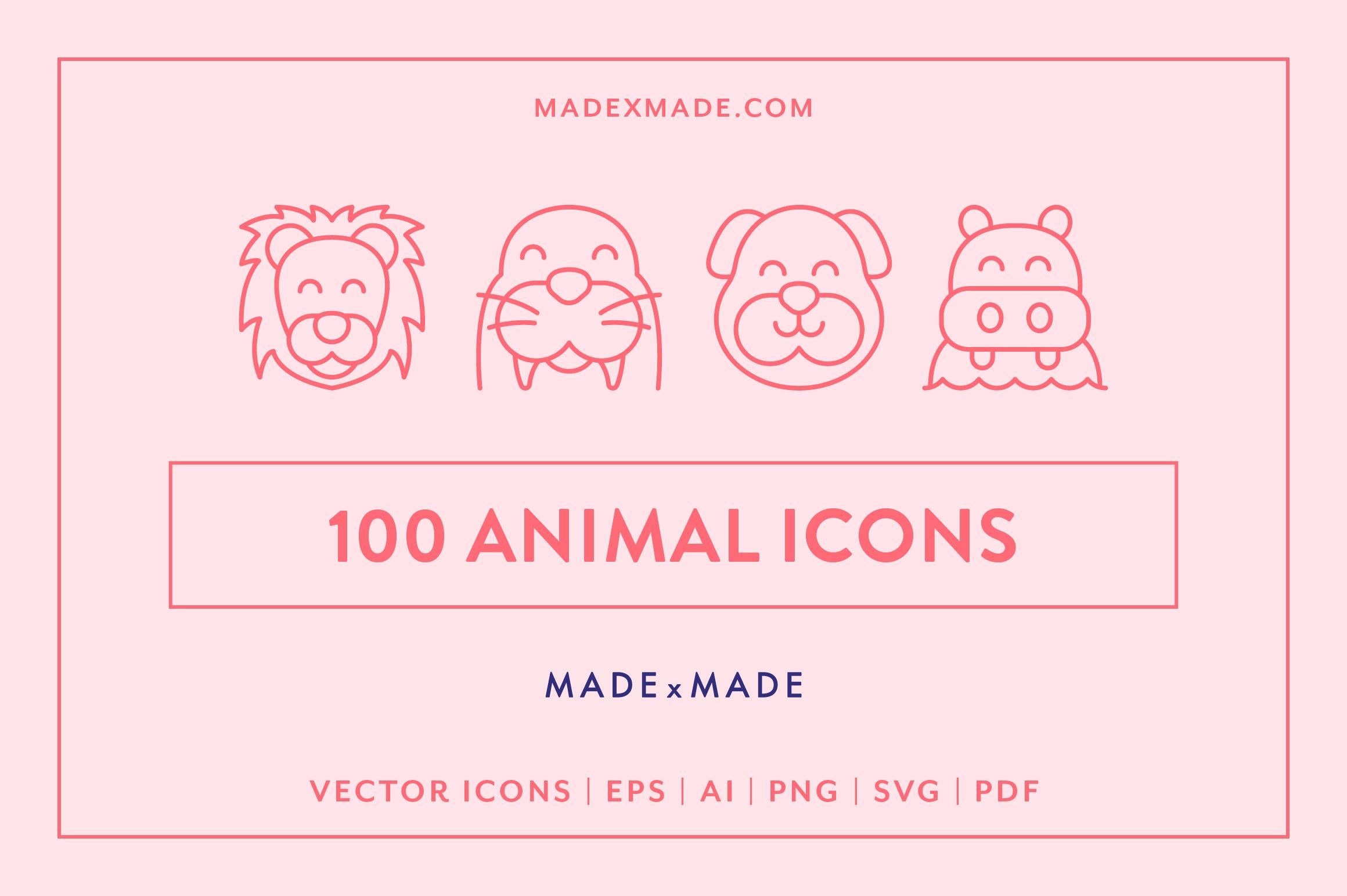 Line Icons - Animals example image 1