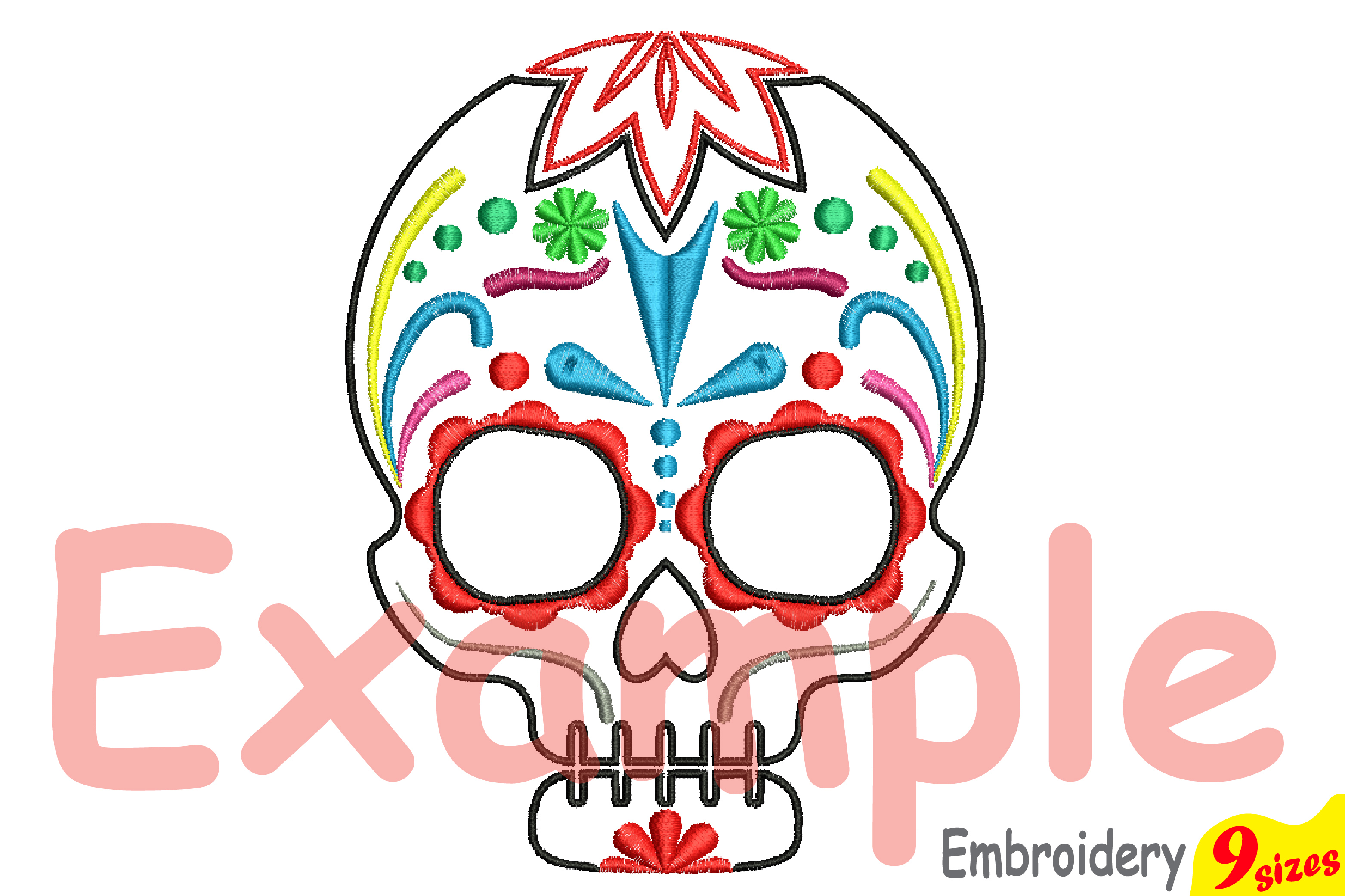 Cinco De Mayo Embroidery Design Instant Download Commercial Use digital file 4x4 5x7 hoop Machine icon outline Fiesta Mexico skull 199b example image 3