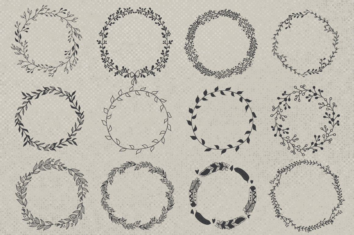 Hand drawn wreaths and frames example image 2