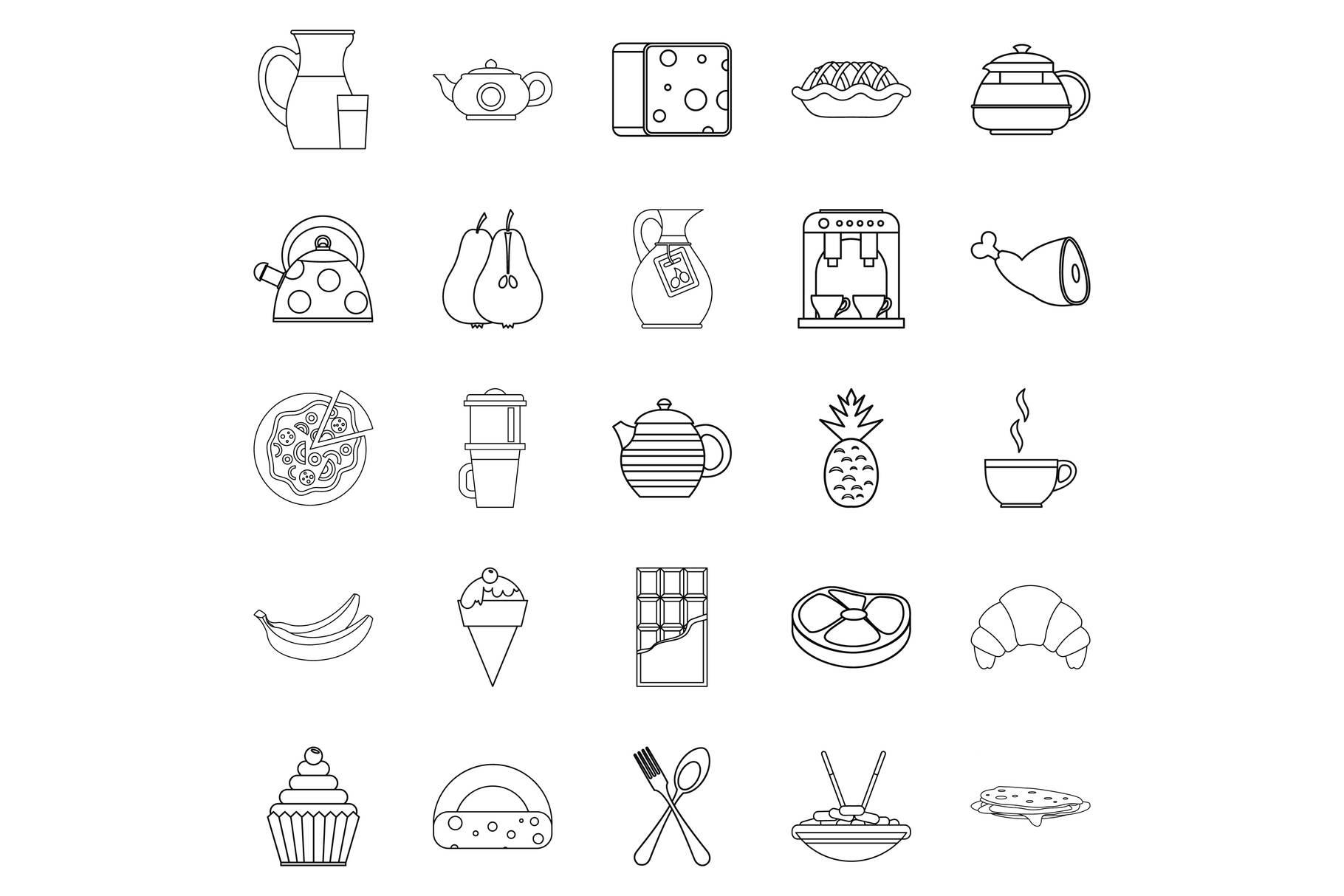 Feeding icons set, outline style example image 1