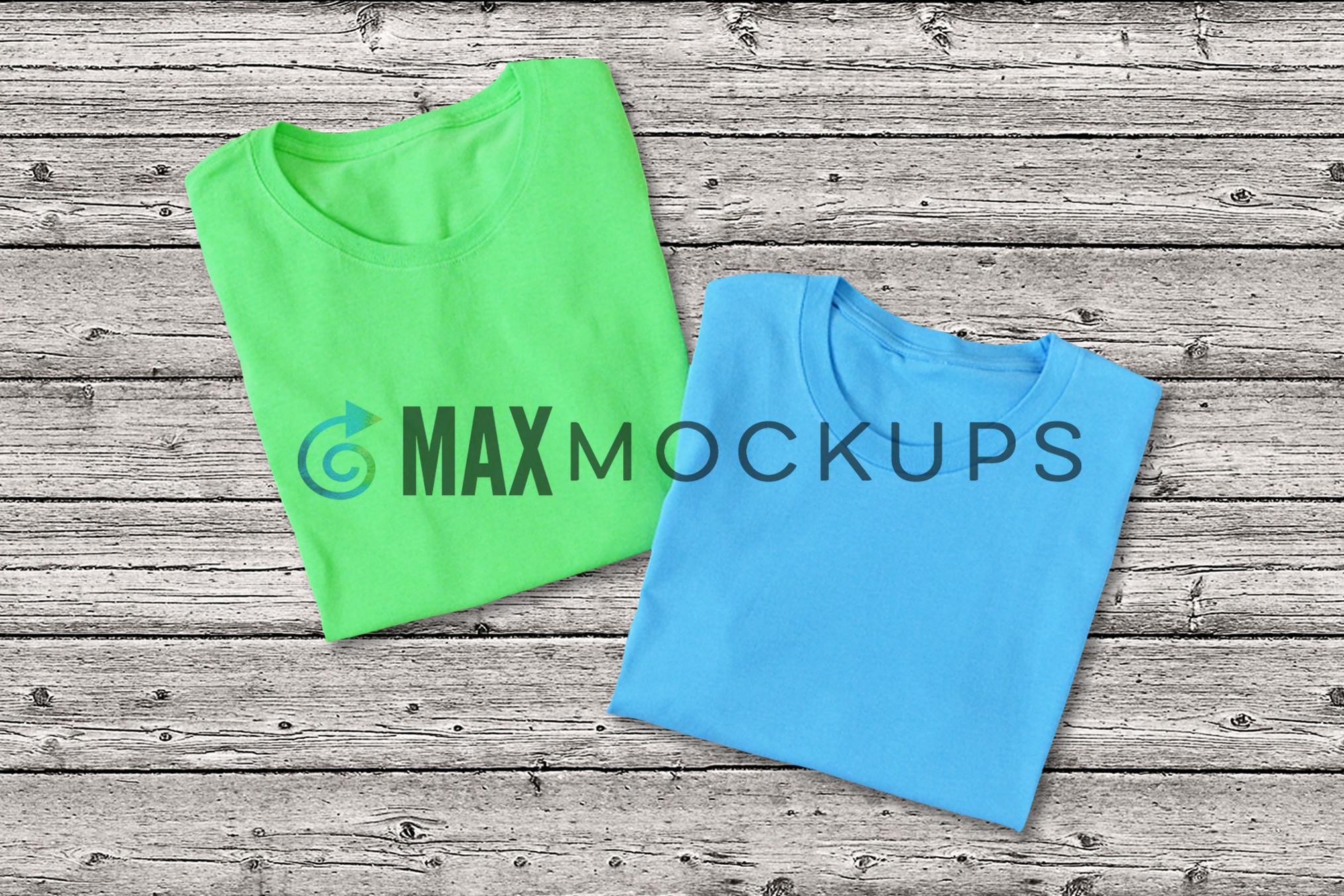 Green and Blue t-shirts Mockup, blank shirt flatlay photo example image 1