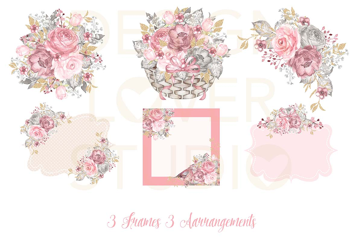 Watercolor PINK and GOLD design example image 2