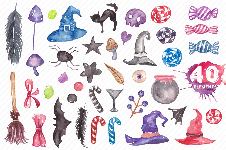 Halloween Watercolor Elements Bundle example image 3