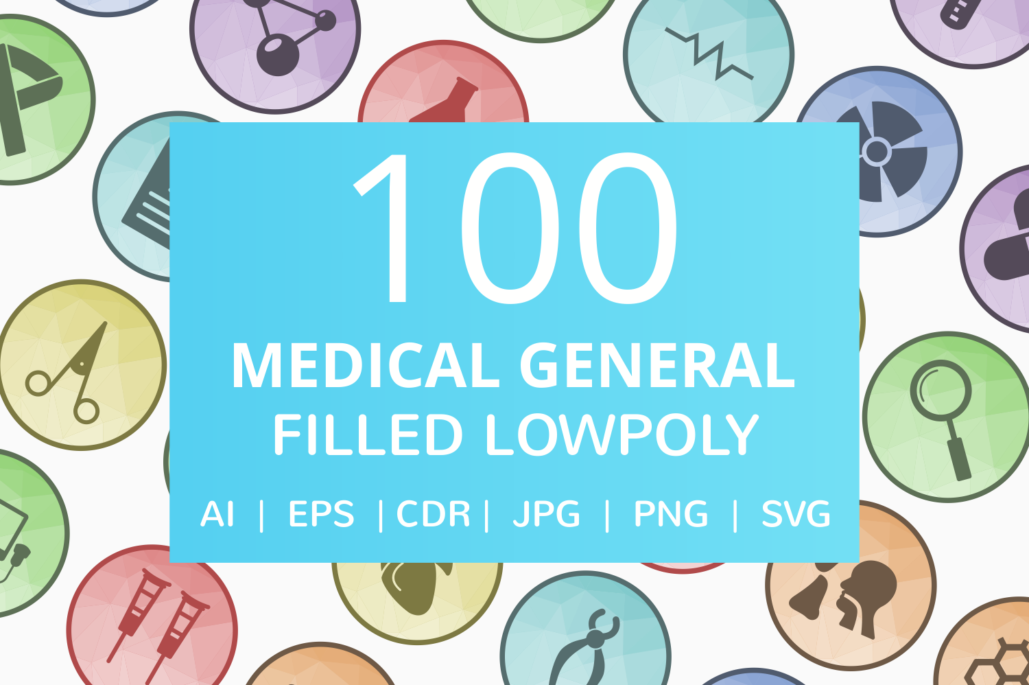 100 Medical General Filled Low Poly Icons example image 1