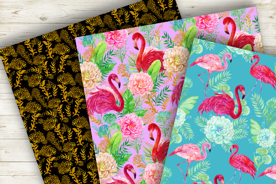 Flamingo.Seamless patterns, example image 7