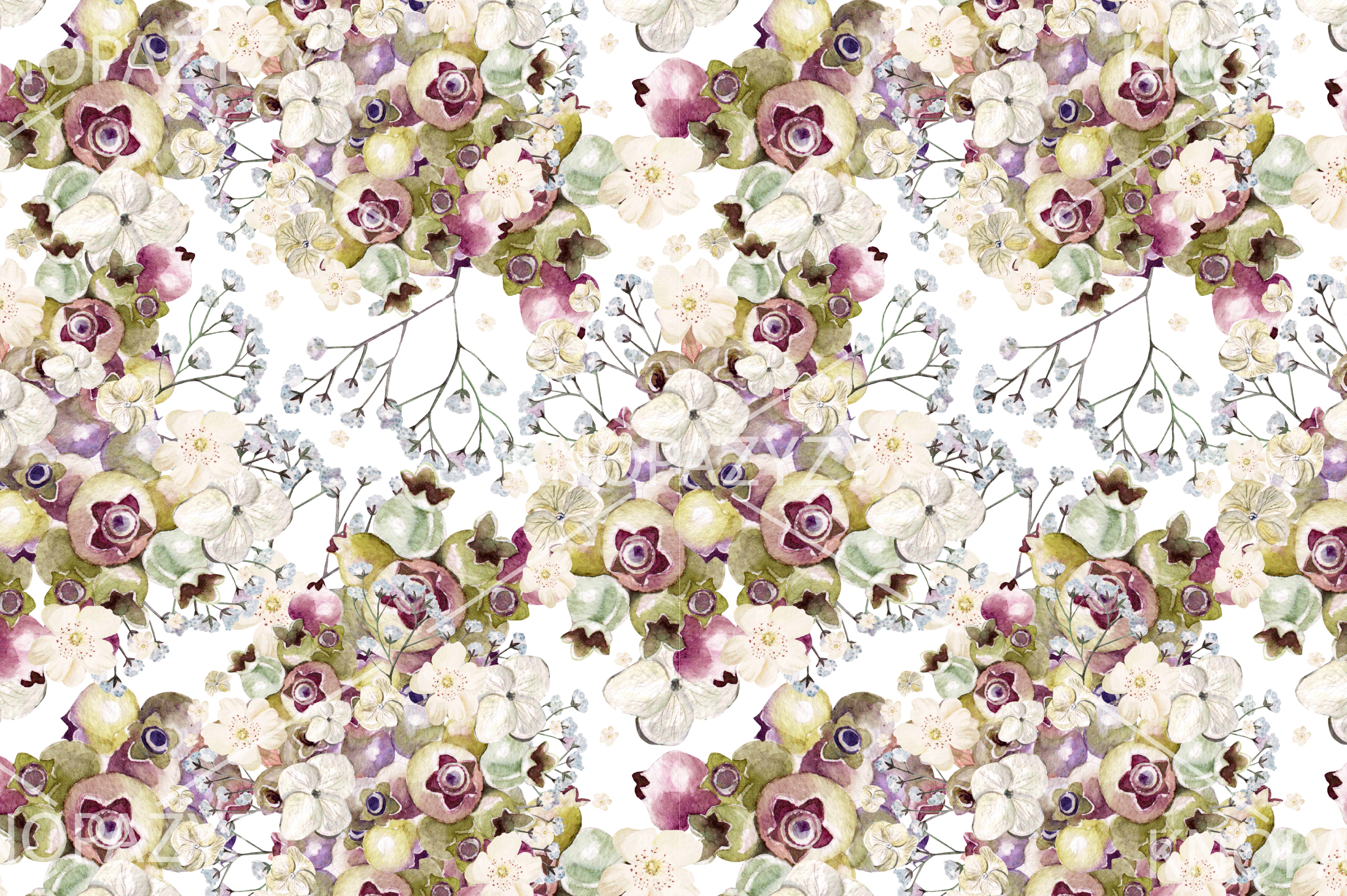 6 Hand Drawn Watercolor PATTERNS example image 4