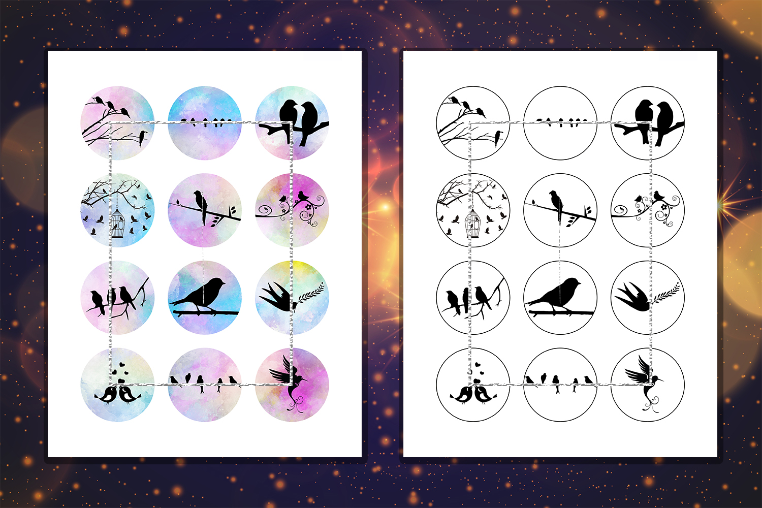 Birds Silhouette,Circle for Earrings,Printable Images example image 2