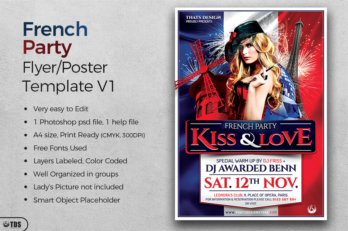 French Party Flyer Template V1 example image 2