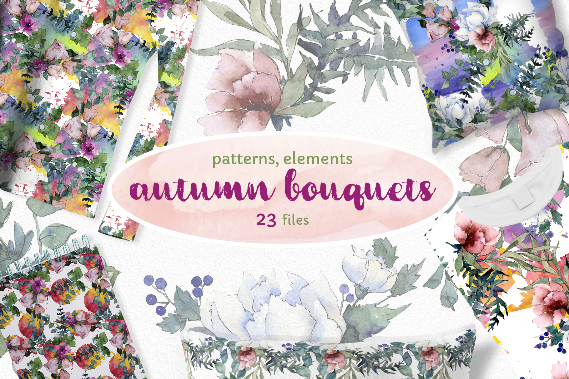 Autumn Flowers Bouquets Watercolor png example image 1