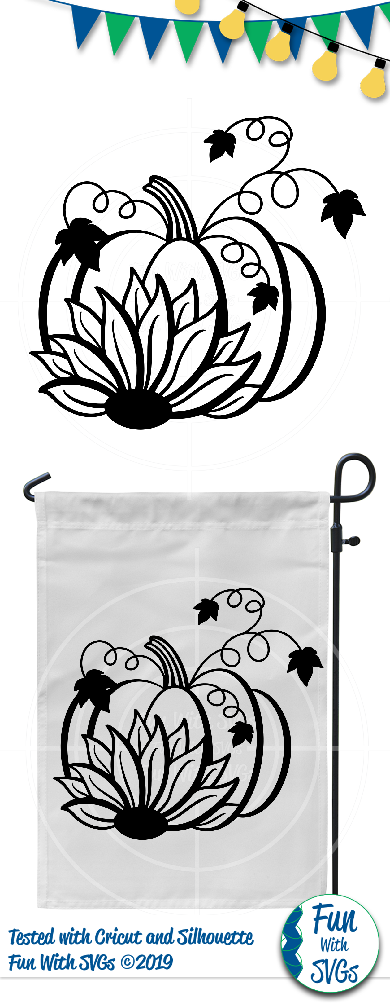 SVG Sunflower Pumpkin Vector, Cut File, Clip Art FWS277 example image 2