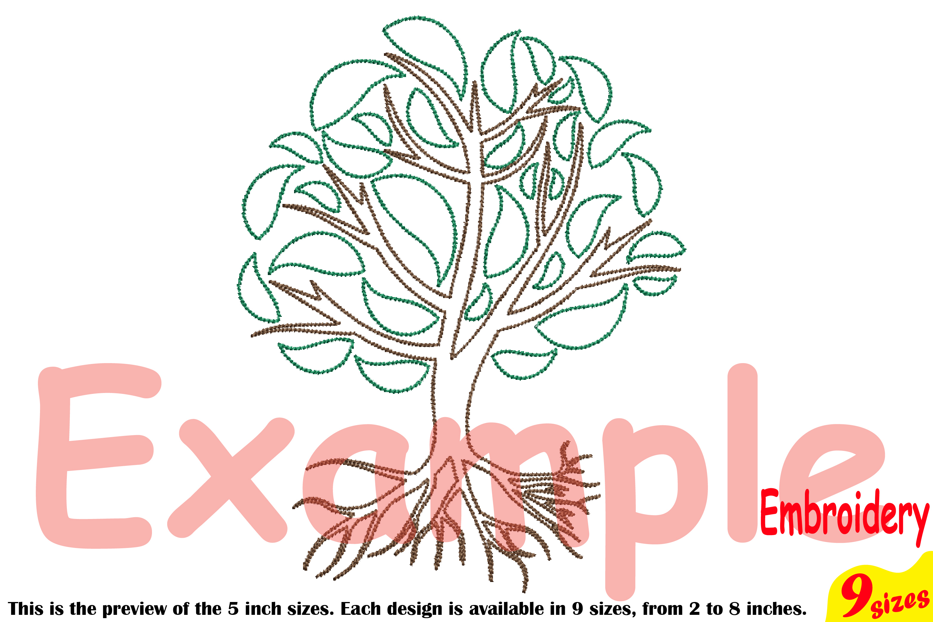 Family Tree Outline Embroidery Design Machine Instant Download Commercial Use digital Outline family love Deep Roots Branches 205b example image 3