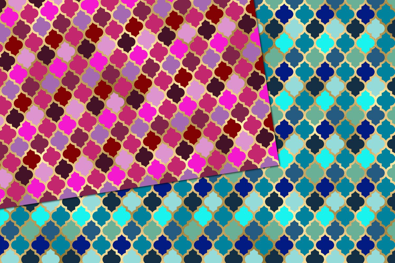Jewel Tone Quatrefoil Digital Paper example image 2