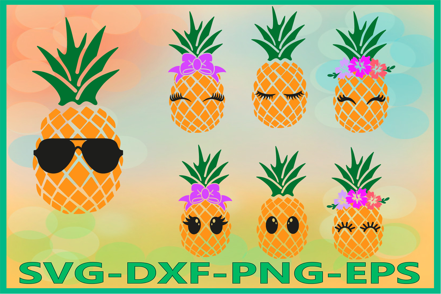 Pineapple Face Svg, Pineapples Svg, Pineapple Svg, Summer example image 1