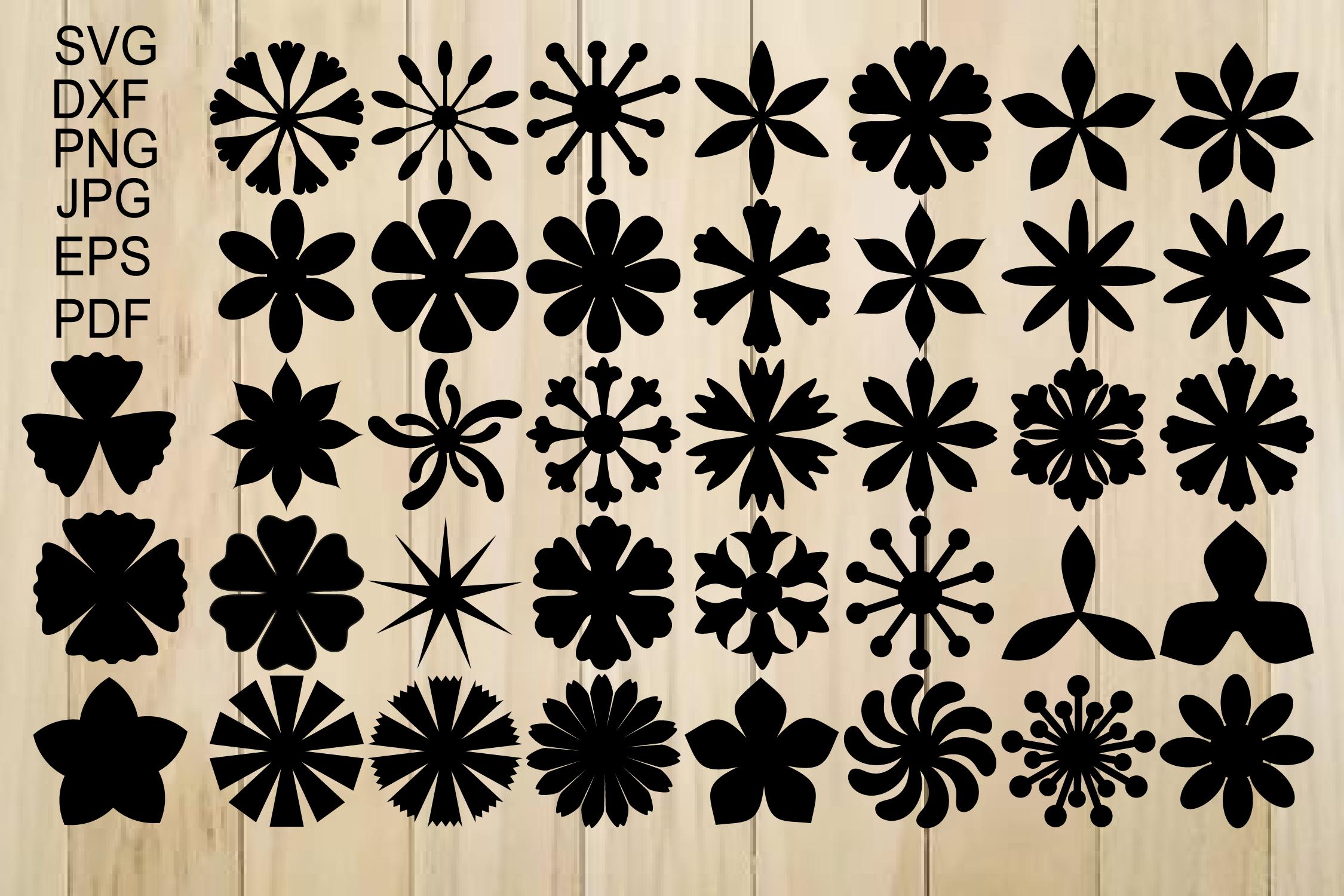 Paper Flower Templates SVG, Flower Center SVG, Origami example image 2
