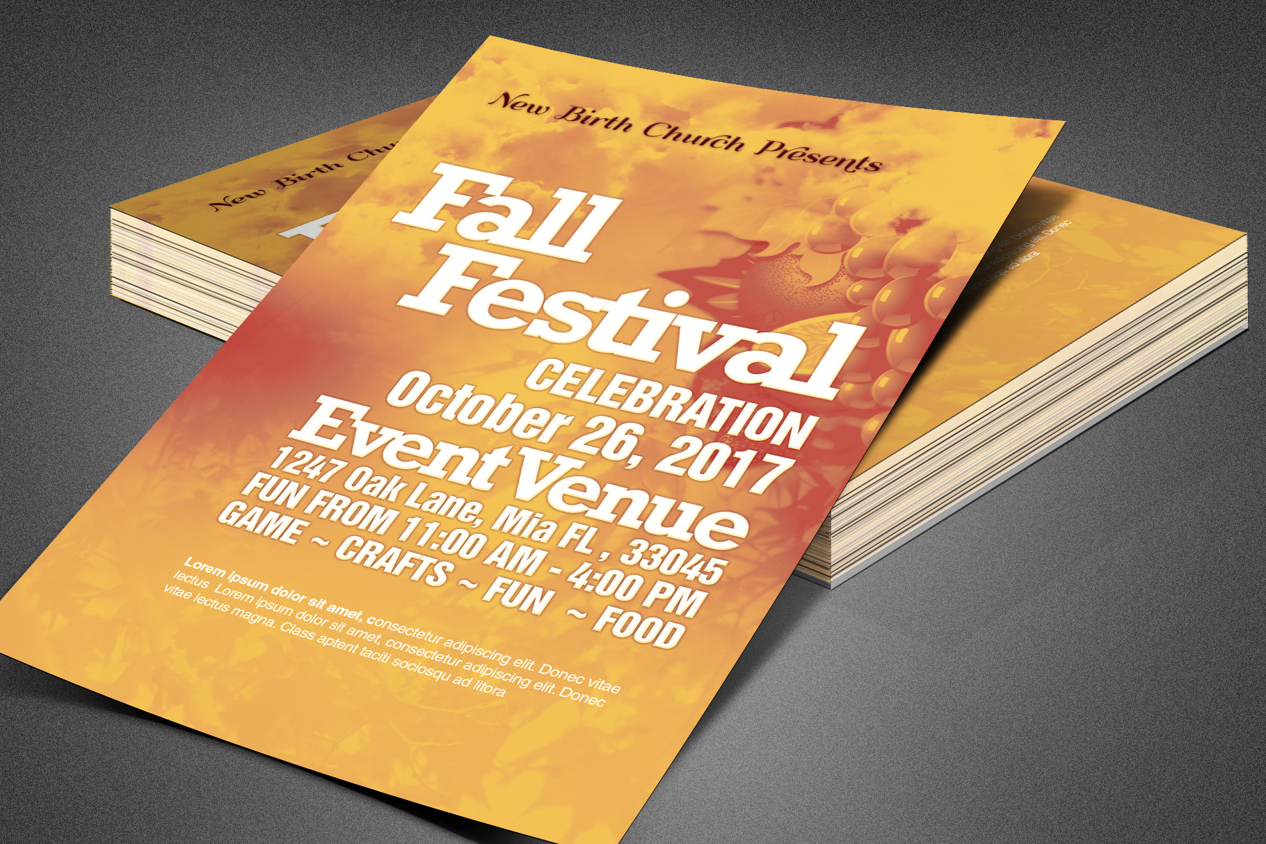 Fall Festival Church Flyer Template example image 3