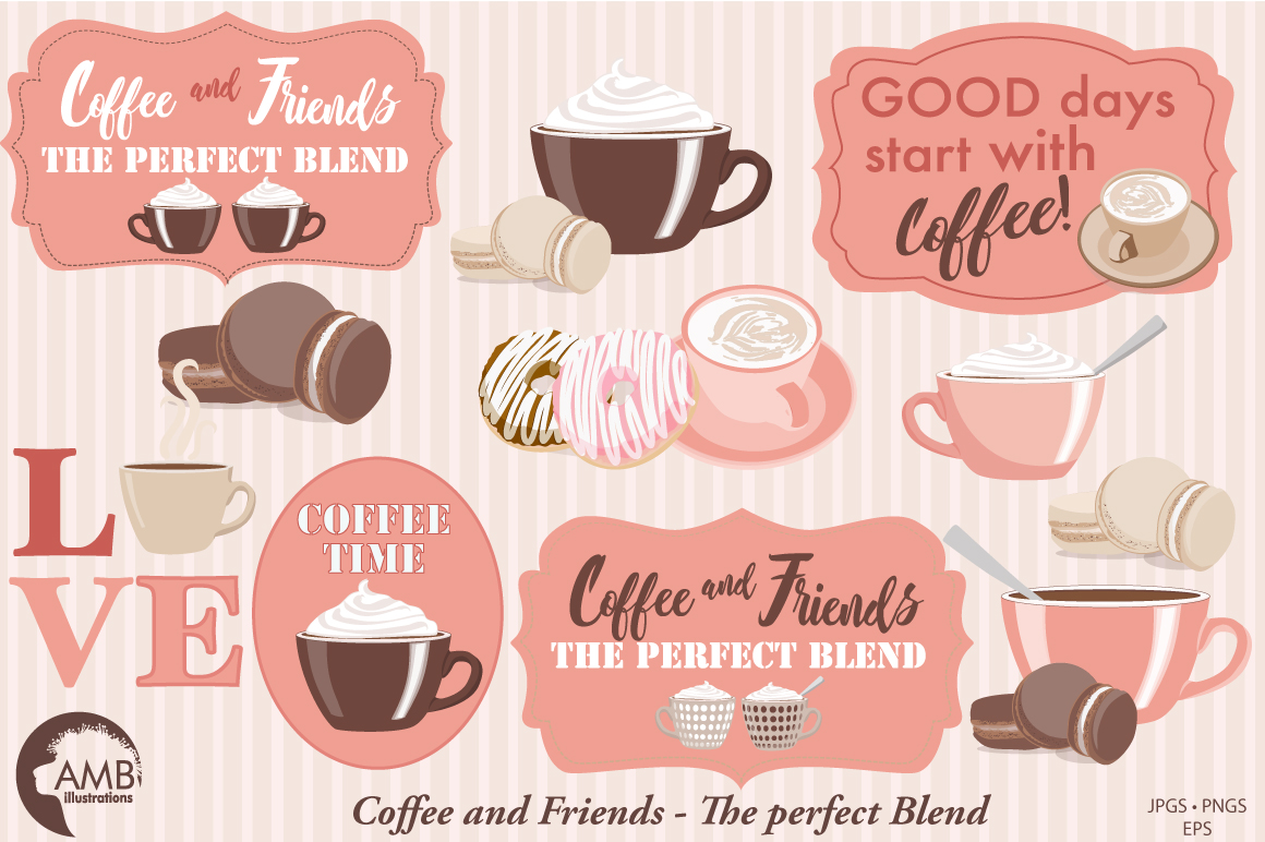 Coffee in Paris cliparts, graphics, illustrations AMB-1592 example image 3