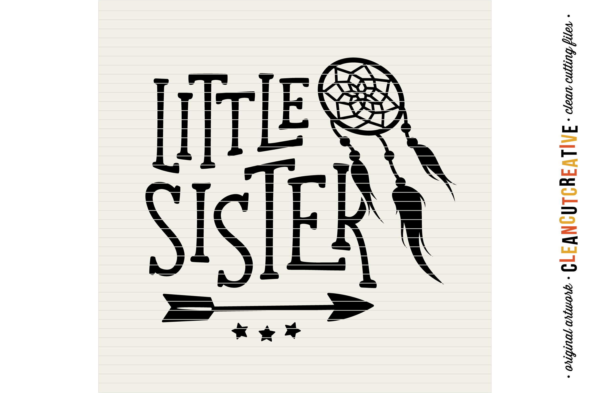 LITTLE SISTER cutfile design withdreamcatcher and feathers - SVG DXF EPS PNG clean cutting files example image 3