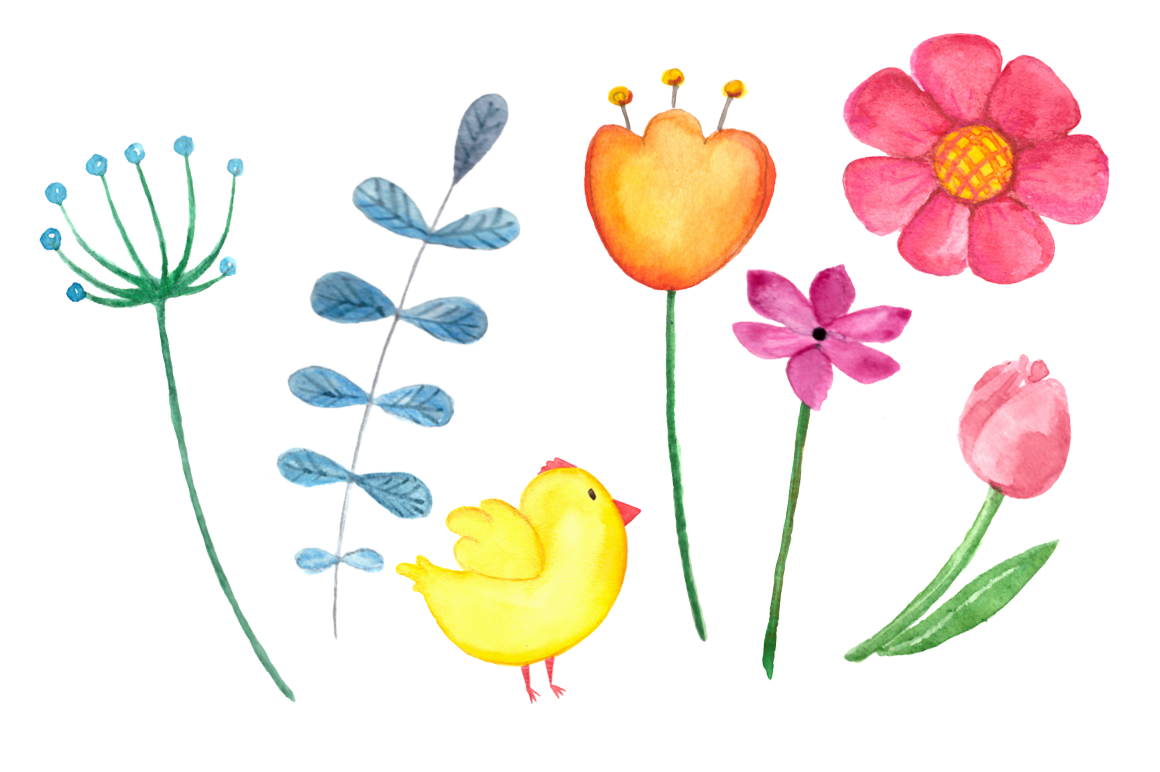 Watercolor Bright Chicks Clip Art  example image 5