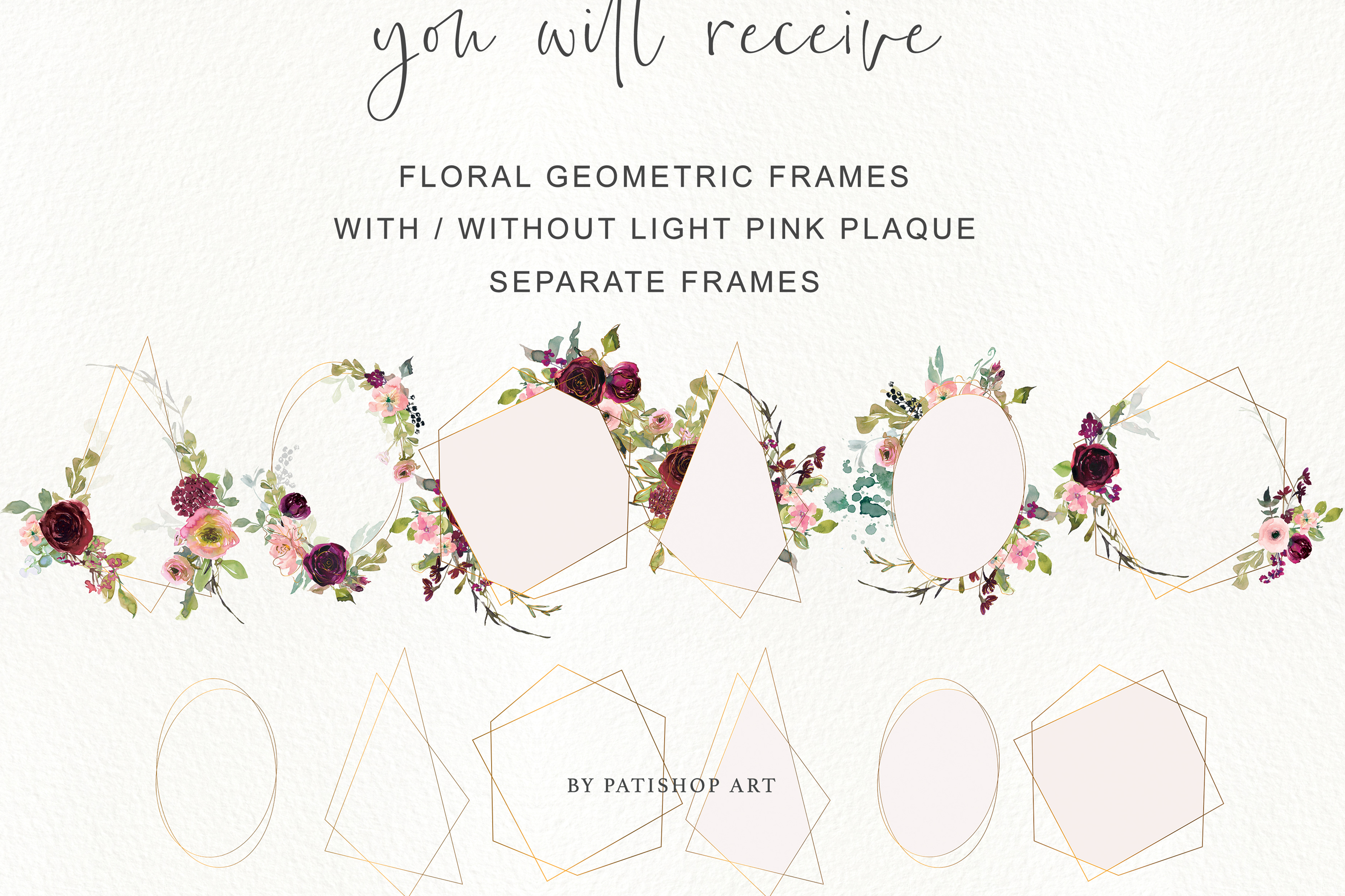Watercolor Burgundy Blush and Gold Floral Bouquet Clipart example image 12