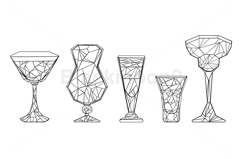 Set of Polygonal Wineglass example image 1