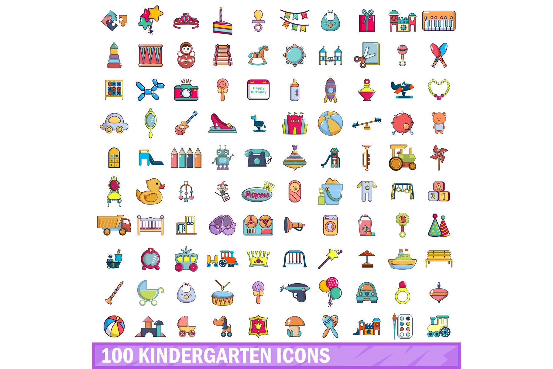 100 kindergarten icons set, cartoon style example image 1