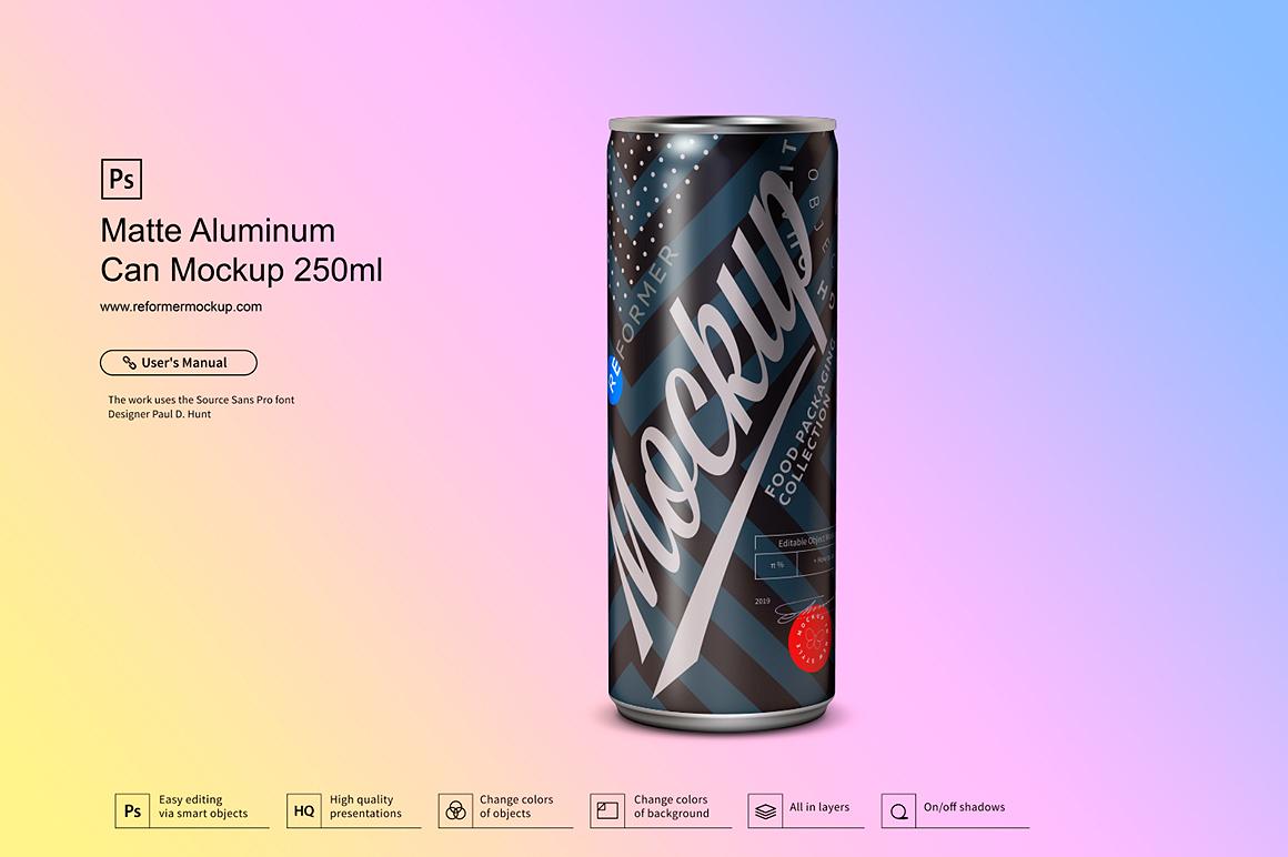 Matte Aluminum Can Mockup 250ml example image 3