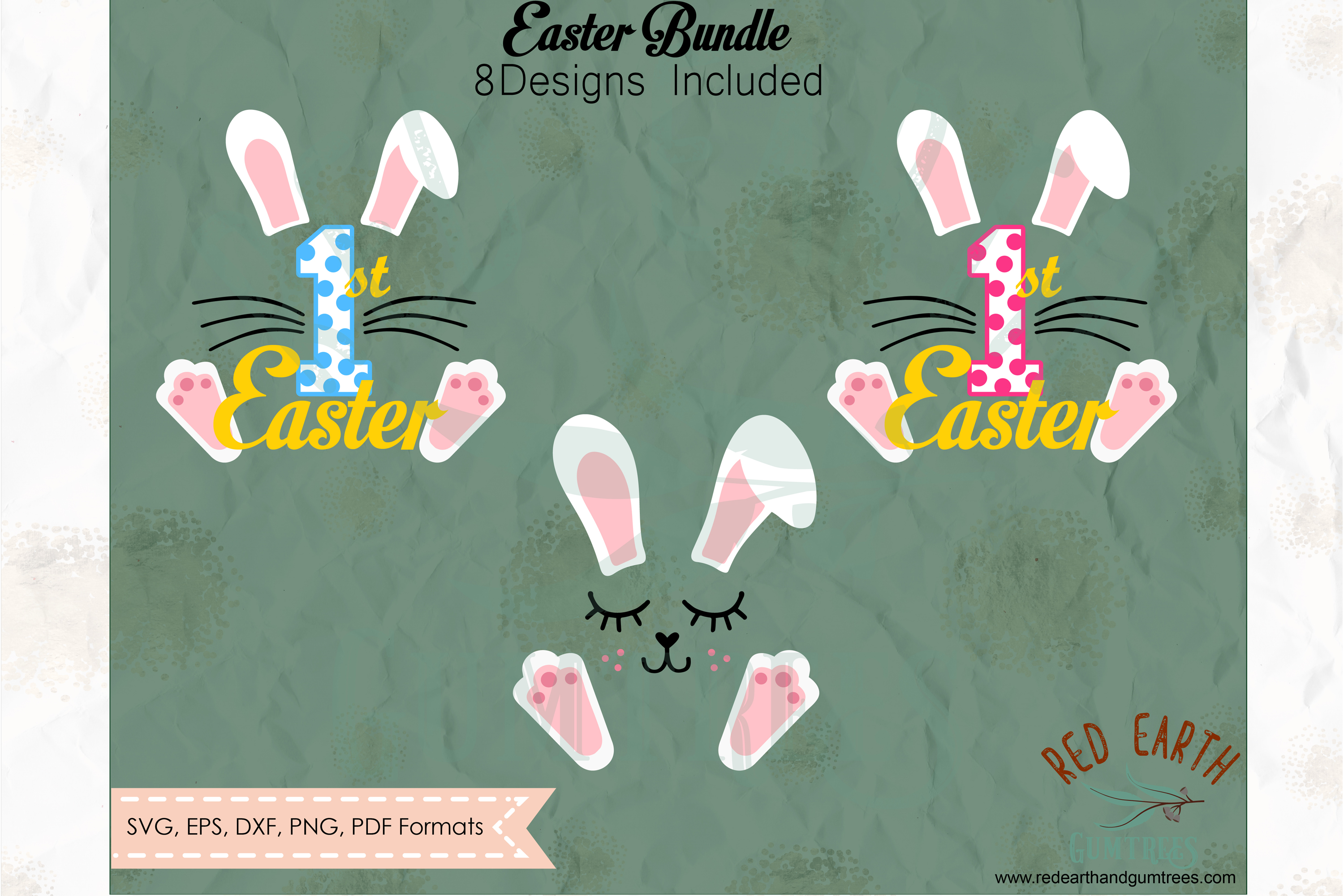 Easter bundle, Easter rabbits, bunny cut file in SVG format example image 3