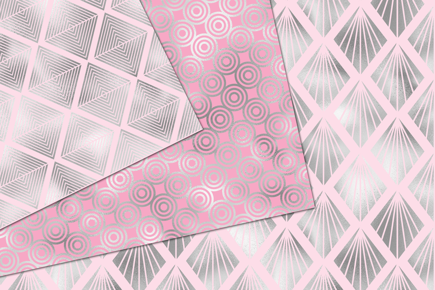 Pink and Silver Art Deco Digital Paper example image 3