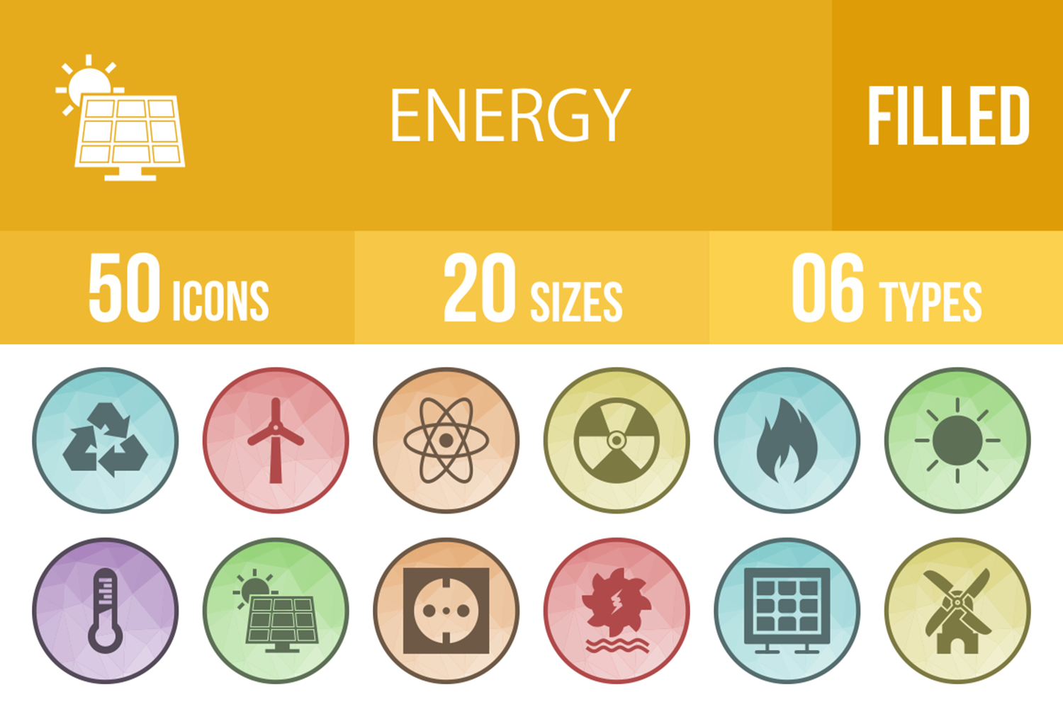 50 Energy Filled Low Poly Icons example image 1