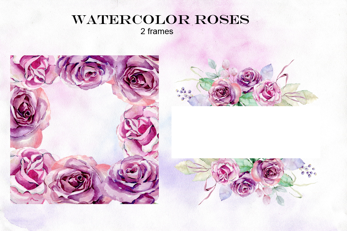 Watercolor roses. Set. example image 4