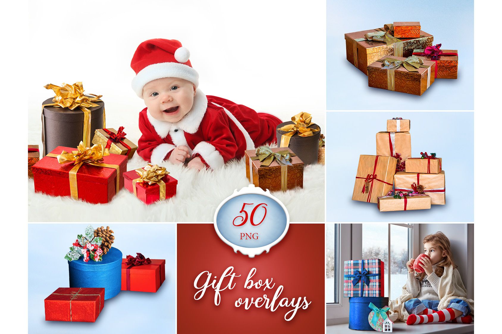 50 Gift Box Photo Overlays example image 1