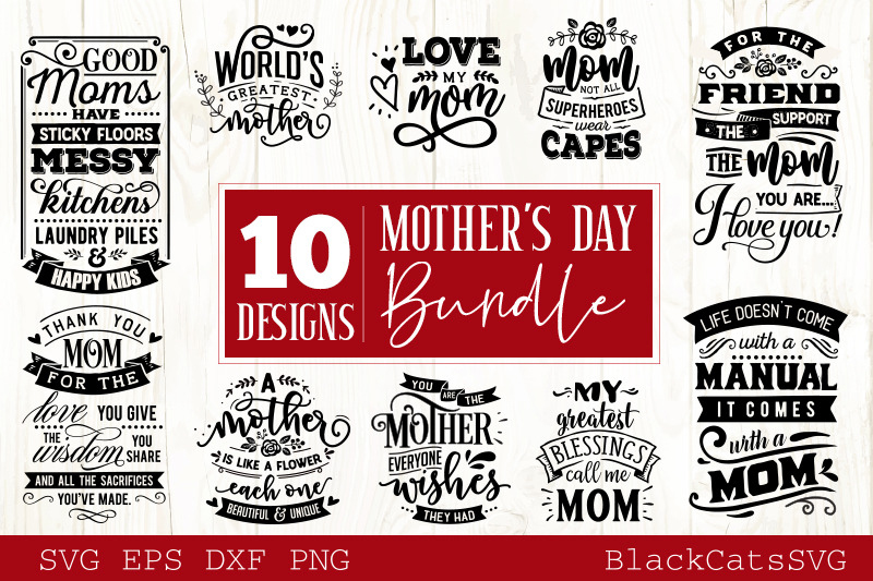 Mother's Day SVG bundle 10 designs Mother's Day SVG example image 1