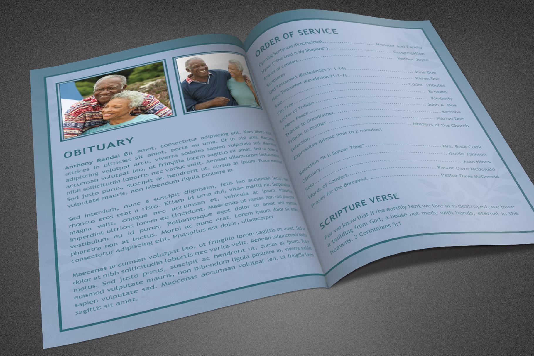 Refresh Blue Funeral Program example image 3