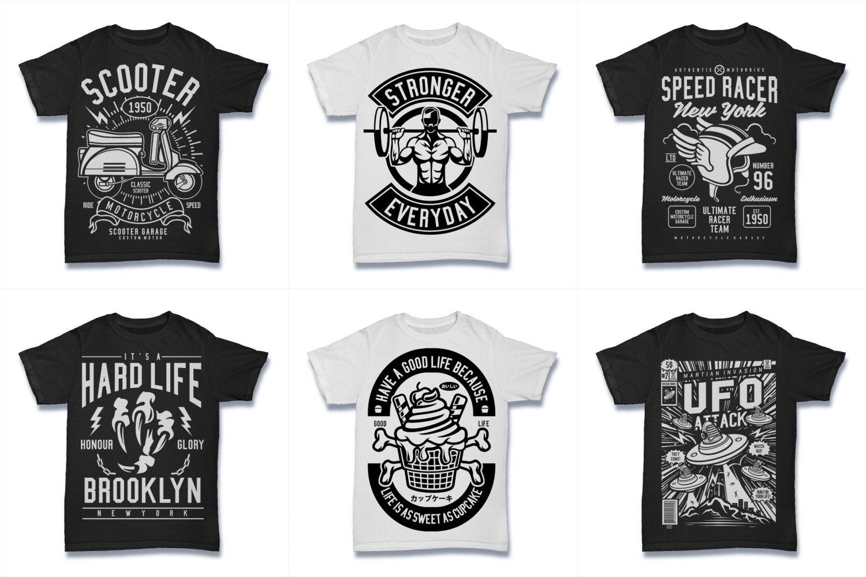 100  Vector Tshirt Designs ( B/W Concept ) example image 7