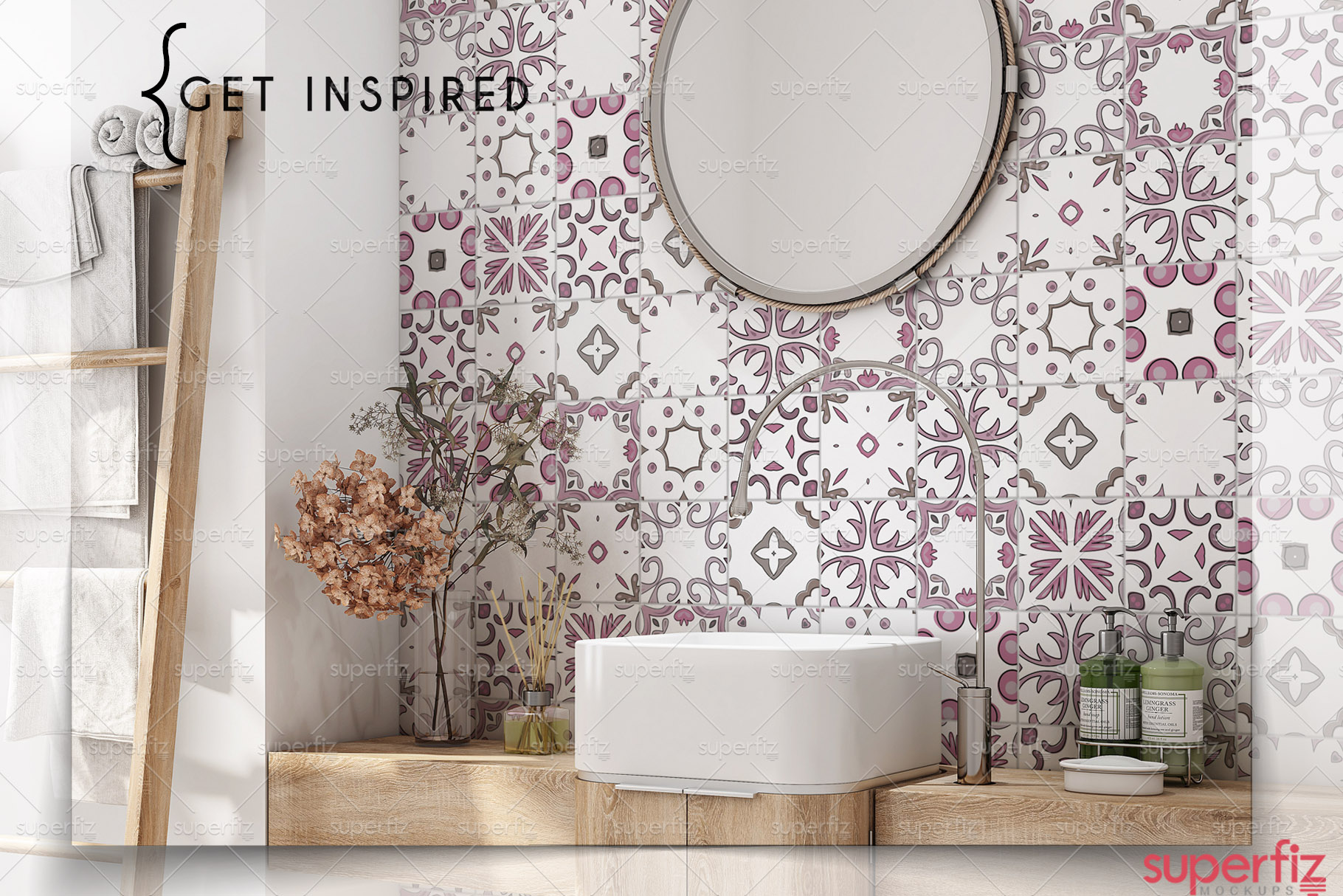 Bathroom PSD Mockup to change the WALL surface SM80 example image 6