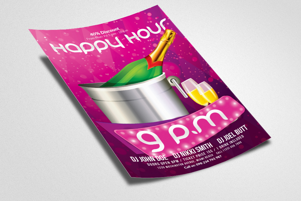 Happy Hour Flyer Template 07 example image 2