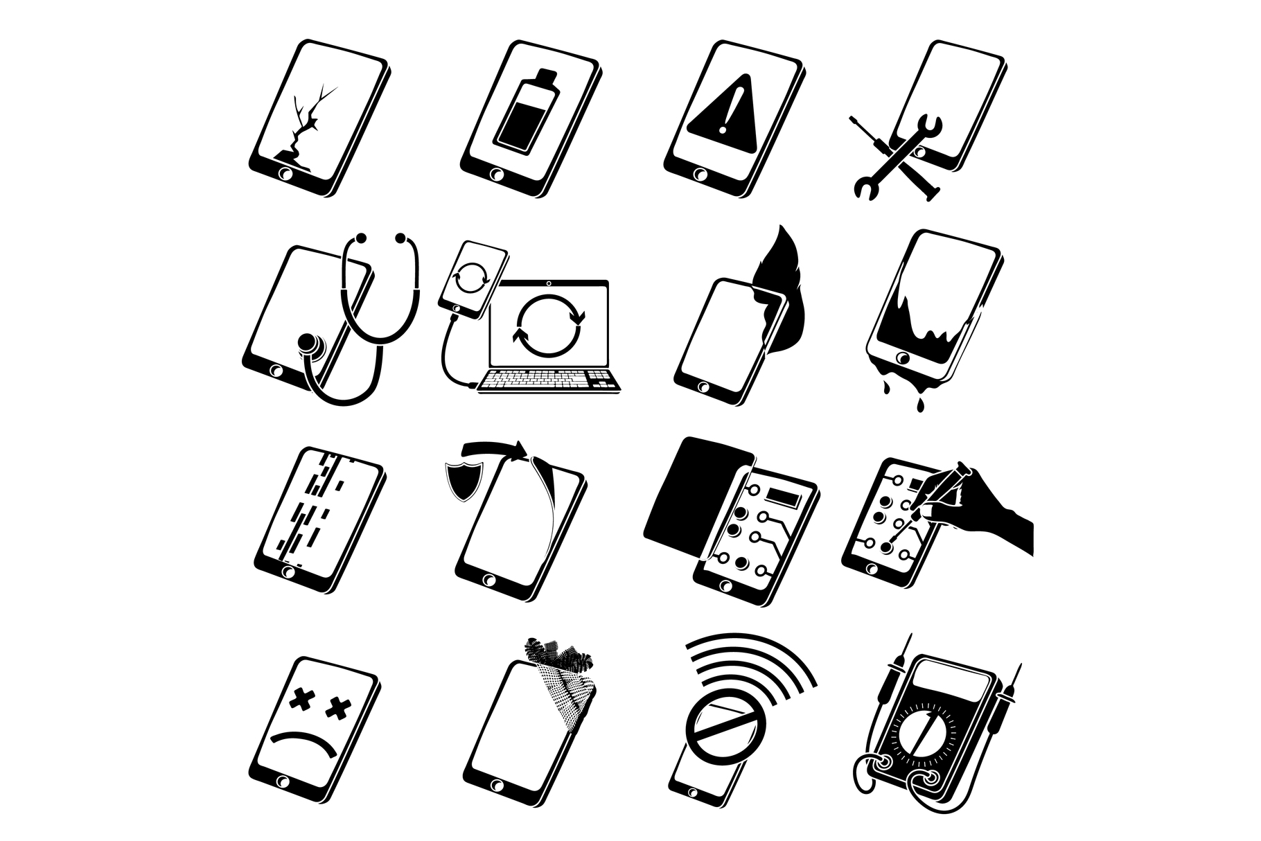 Repair phones fix icons set, simple style example image 1