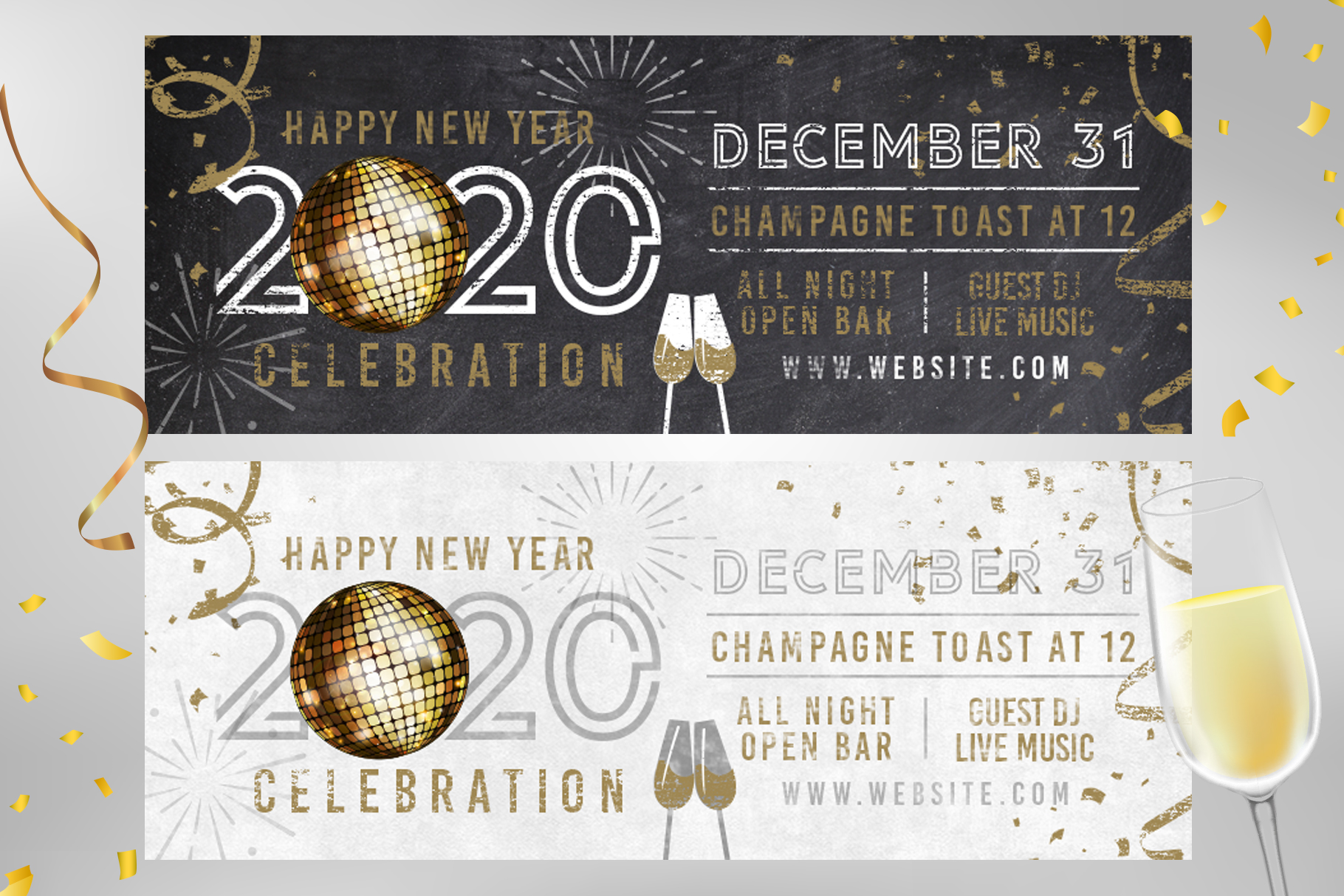 Chalk NYE New Years Eve Party Invite example image 3