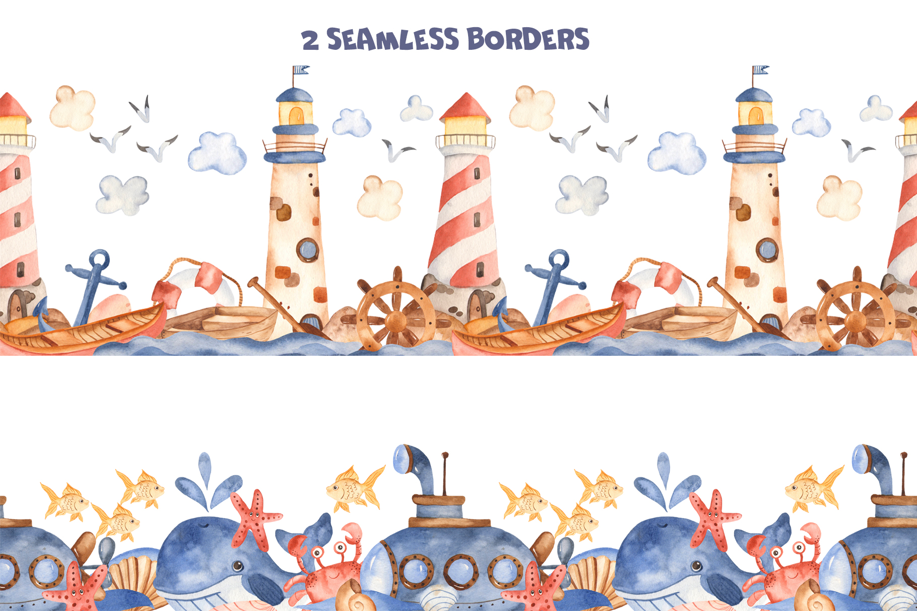 Water transport watercolor clipart. Ships, lighthouse ...