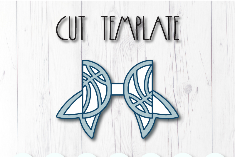 Basketball Hair bow template SVG, DIY leather bow template example image 2
