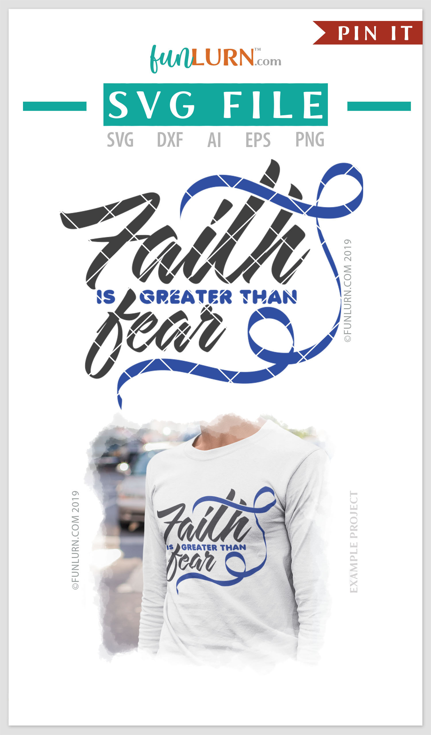 Faith is Greater Than Fear Dark Blue Ribbon SVG Cut File example image 4
