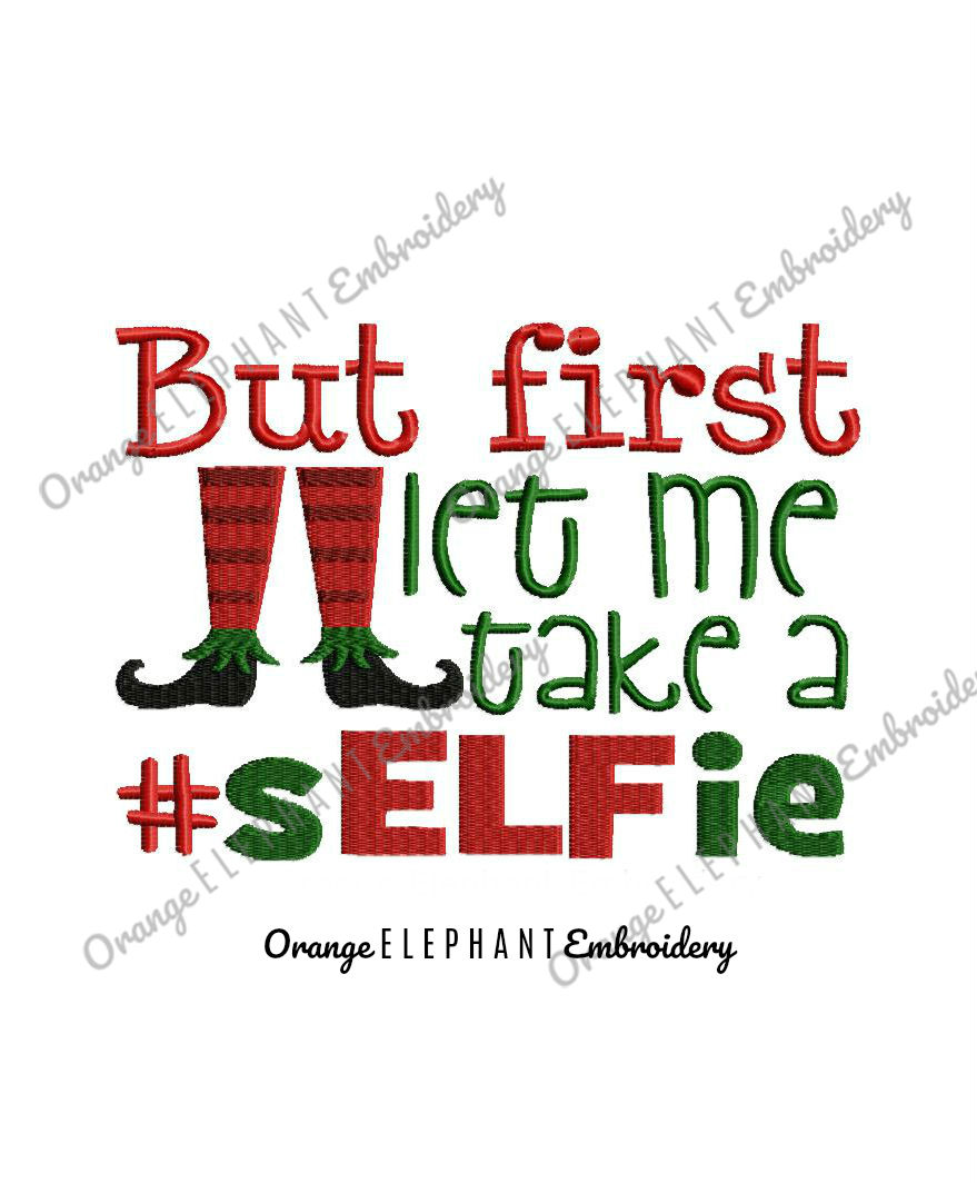 Christmas Elf Selfie Unique Urban Machine Embroidery Design digital File  example image 1