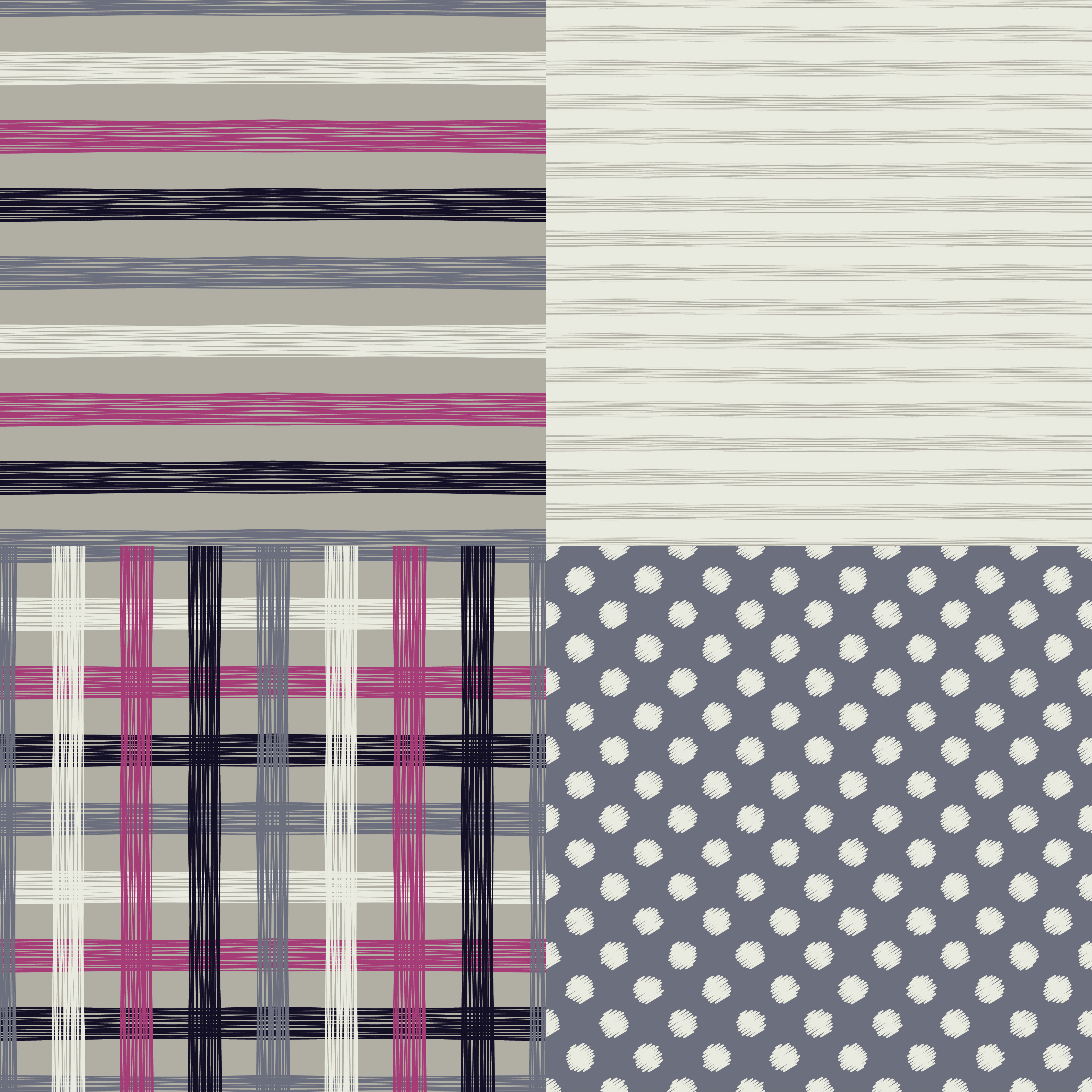 Set of 4 seamless grunge patterns with polka dot, stripe and cell. Vector illustration. Textile rapport. example image 1