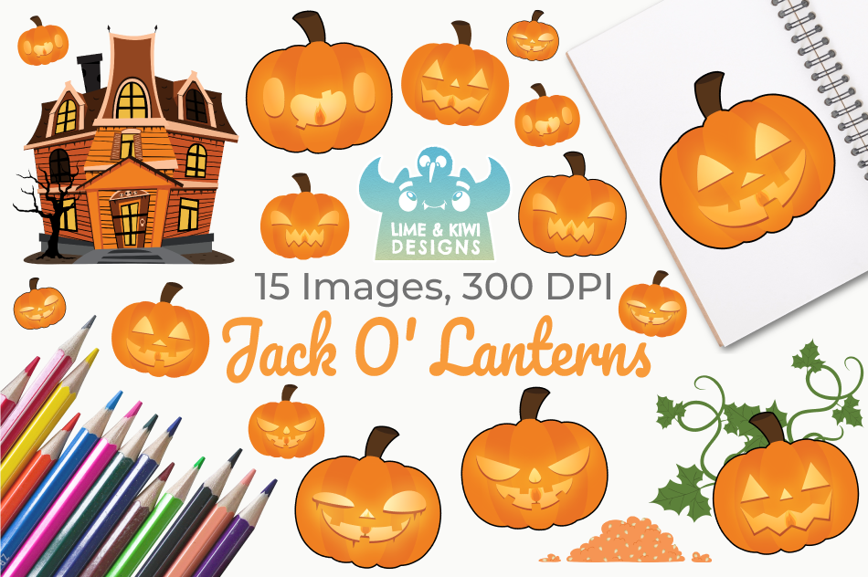 Jack O' Lanterns Clipart, Instant Download Vector Art example image 1