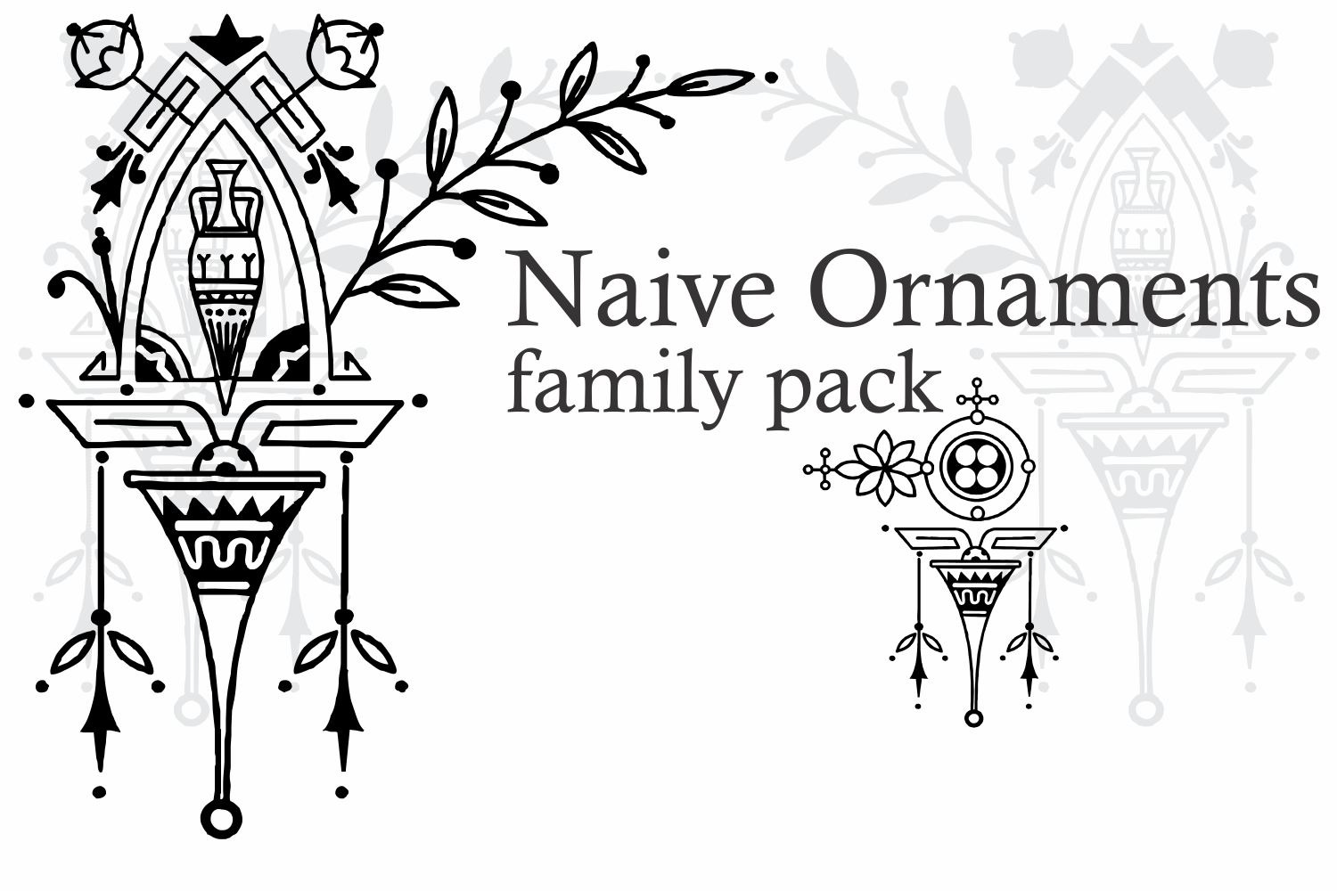 Naive Ornaments Family Pack (seven fonts) example image 10