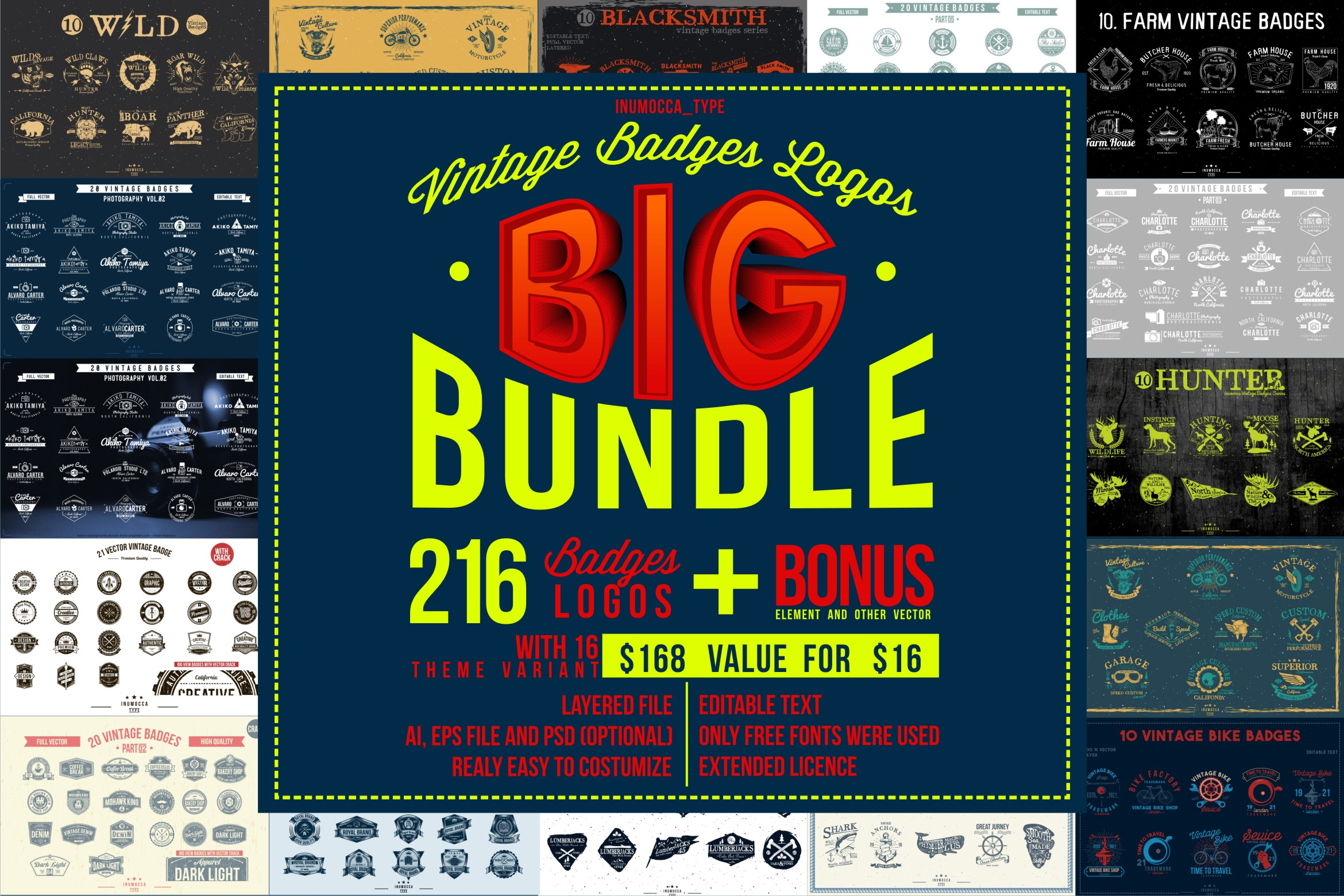 BIG BUNDLE Vintage Badges example image 1
