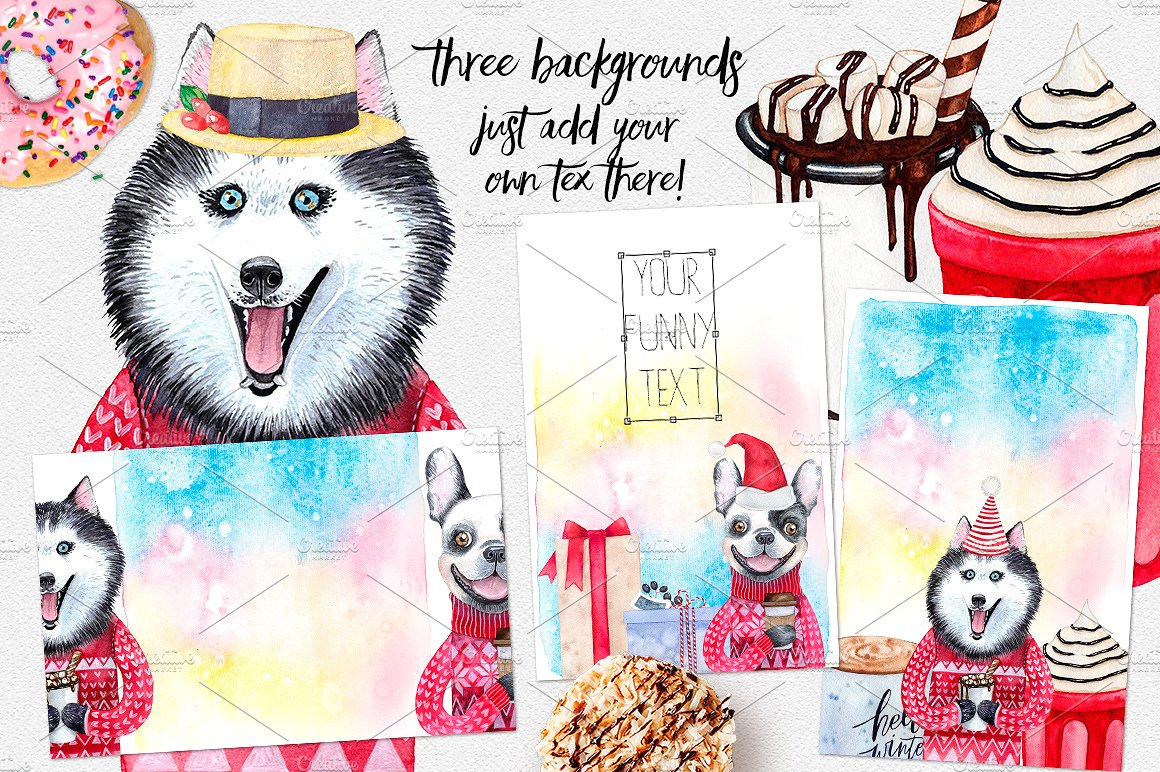 CHRISTMAS AND DOGS watercolor set example image 4