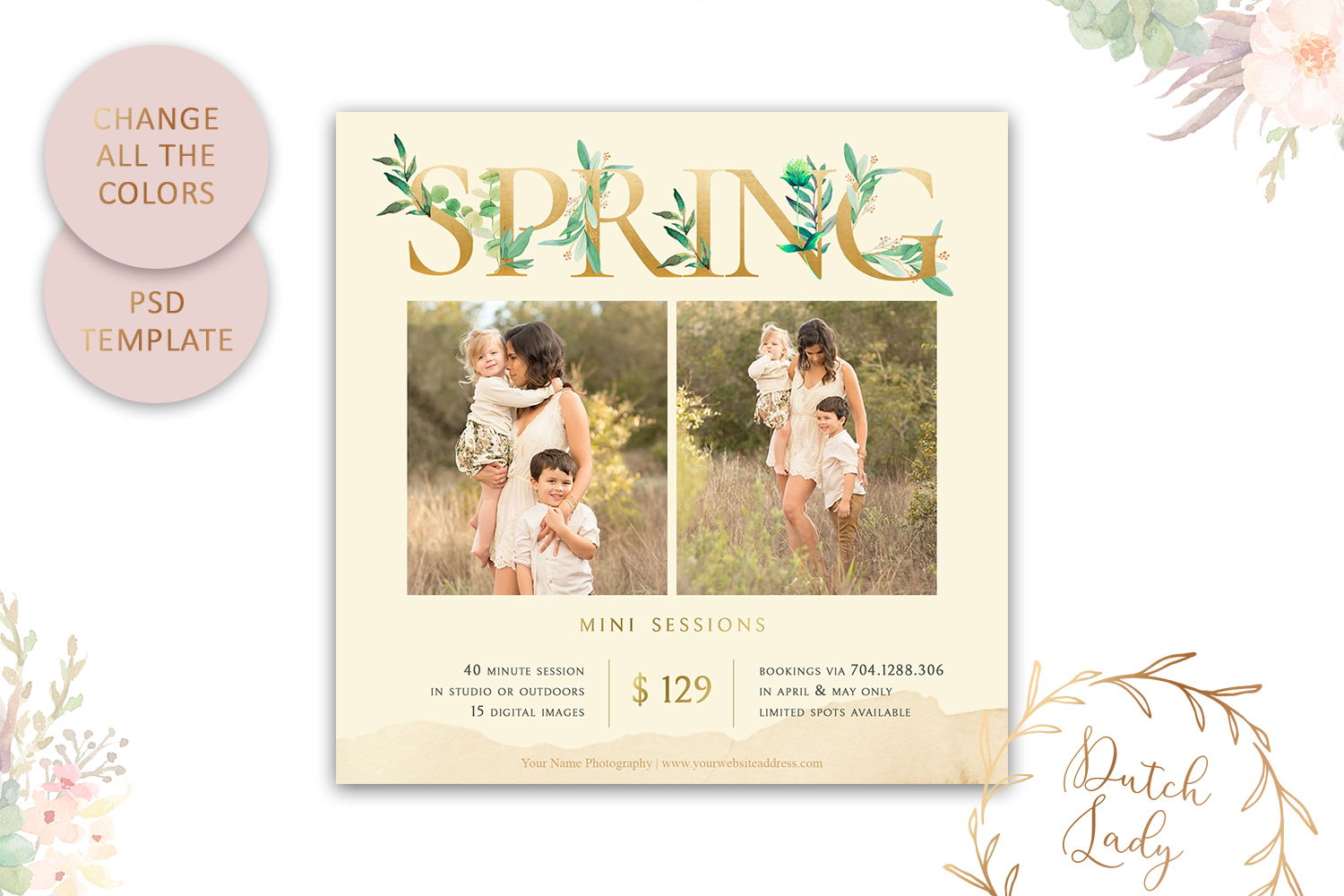 PSD Photo Spring Mini Session Card Template - Design #40 example image 3