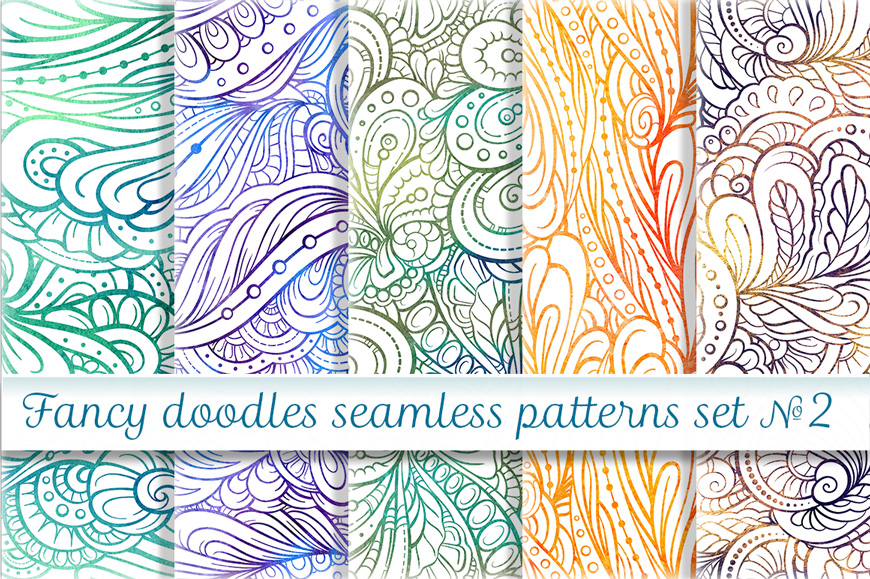 Fancy doodles seamless pattern set 2 example image 1