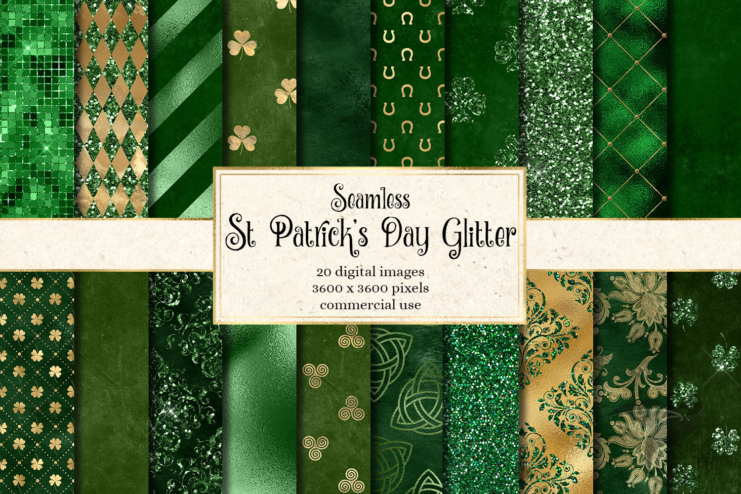 St Patrick's Day Glitter Digital Paper example image 1